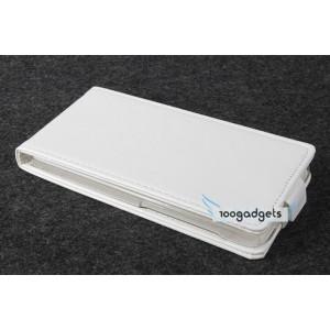 Кожаный чехол вертикальная книжка на прозрачной пластиковой основедля Fly IQ4503 Era Life 6