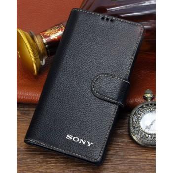 Кожаный чехол портмоне (нат. кожа) с крепежной застежкой для Sony Xperia Z3 Compact