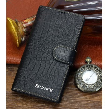 Кожаный чехол портмоне (нат. кожа крокодила) для Sony Xperia Z3 Compact