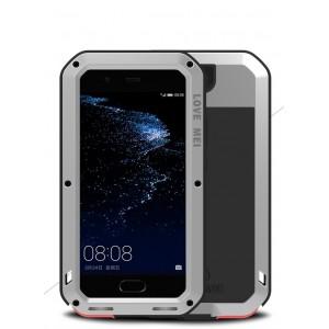 Эксклюзивный многомодульный ультрапротекторный пылевлагозащищенный ударостойкий нескользящий чехол алюминиево-цинковый сплав/силиконовый полимер с закаленным защитным стеклом для Huawei P10