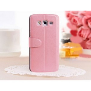 Чехол флип с активным окном вызова для Samsung Galaxy Grand 2 Duos Розовый