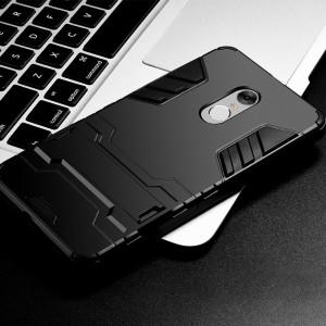 Противоударный двухкомпонентный силиконовый матовый непрозрачный чехол с поликарбонатными вставками экстрим защиты с встроенной ножкой-подставкой для Xiaomi RedMi Note 4 Черный
