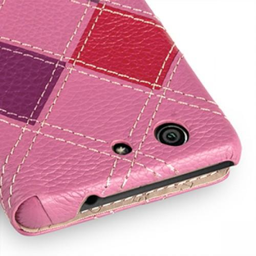 Эксклюзивный кожаный чехол ручной работы книжка горизонтальная (2 вида нат. кожи) серия Vise Versa для Sony Xperia Z3 Compact