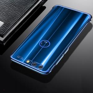 Силиконовый глянцевый полупрозрачный дизайнерский фигурный чехол с текстурным покрытием Металлик для Huawei Honor 9 Lite