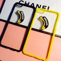 Силиконовый полупрозрачный чехол с принтом Banana для Iphone 6 Plus Желтый