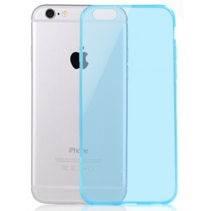 Ультратонкий чехол-накладка с полупрозрачным основанием для Iphone 6 Голубой