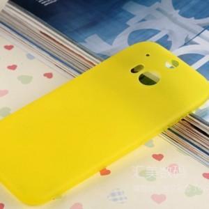Ультратонкий силиконовый чехол для HTC One (M8) серия Rainbow Желтый