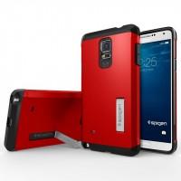 Силиконовый премиум чехол-подставка с поликарбонатной крышкой для Samsung Galaxy Note 4 Красный