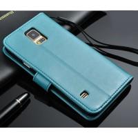 Чехол портмоне подставка с защелкой для Samsung Galaxy Note 4 Голубой