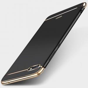 Двухкомпонентный пластиковый непрозрачный матовый сборный чехол для Xiaomi RedMi 6A Черный