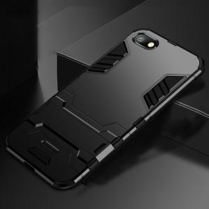 Противоударный двухкомпонентный силиконовый матовый непрозрачный чехол с поликарбонатными вставками экстрим защиты с встроенной ножкой-подставкой для Xiaomi RedMi 6A Черный