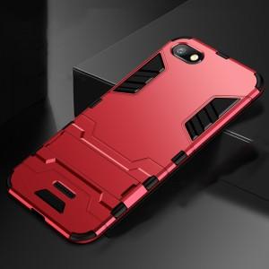 Противоударный двухкомпонентный силиконовый матовый непрозрачный чехол с поликарбонатными вставками экстрим защиты с встроенной ножкой-подставкой для Xiaomi RedMi 6A Красный