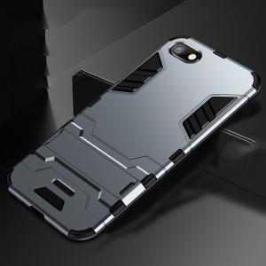 Противоударный двухкомпонентный силиконовый матовый непрозрачный чехол с поликарбонатными вставками экстрим защиты с встроенной ножкой-подставкой для Xiaomi RedMi 6A Серый