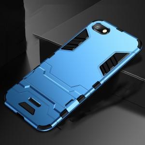Противоударный двухкомпонентный силиконовый матовый непрозрачный чехол с поликарбонатными вставками экстрим защиты с встроенной ножкой-подставкой для Xiaomi RedMi 6A Голубой