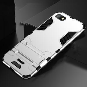 Противоударный двухкомпонентный силиконовый матовый непрозрачный чехол с поликарбонатными вставками экстрим защиты с встроенной ножкой-подставкой для Xiaomi RedMi 6A Белый