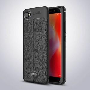 Силиконовый матовый непрозрачный чехол с улучшенной защитой элементов корпуса и текстурным покрытием Кожа для Xiaomi RedMi 6A Черный