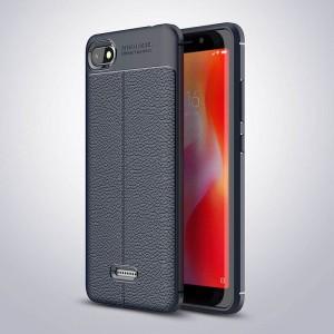 Силиконовый матовый непрозрачный чехол с улучшенной защитой элементов корпуса и текстурным покрытием Кожа для Xiaomi RedMi 6A Синий