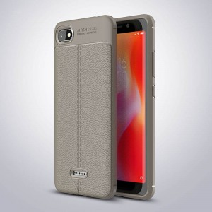 Силиконовый матовый непрозрачный чехол с улучшенной защитой элементов корпуса и текстурным покрытием Кожа для Xiaomi RedMi 6A Серый