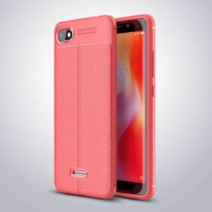 Силиконовый матовый непрозрачный чехол с улучшенной защитой элементов корпуса и текстурным покрытием Кожа для Xiaomi RedMi 6A Красный