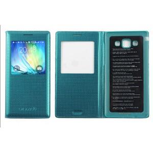 Кожаный чехол смартфлип на клеевой основе с фирменной точечной структурой и окном вызова для Samsung Galaxy A5