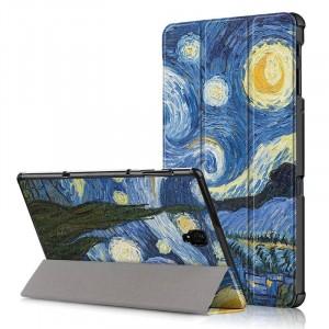 Сегментарный чехол книжка подставка на непрозрачной поликарбонатной основе с полноповерхностным принтом для Samsung Galaxy Tab A 10.5