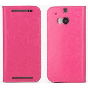 Премиум чехол-портмоне из вощеной кожи для HTC One (M8) Пурпурный