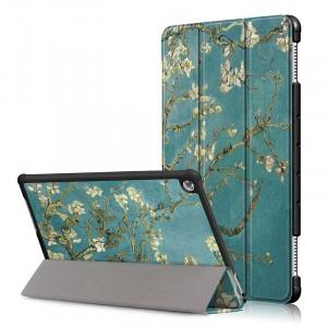 Сегментарный чехол книжка подставка на непрозрачной поликарбонатной основе с полноповерхностным принтом для Huawei MediaPad T5