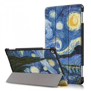 Сегментарный чехол книжка подставка на непрозрачной поликарбонатной основе с полноповерхностным принтом для Huawei MediaPad M5 Lite