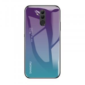 Силиконовый глянцевый Градиентный непрозрачный чехол со стеклянной накладкой для Huawei Mate 20 Lite