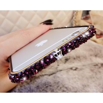 Металлический бампер с аппликацией стразами ручной работы для Iphone 6 Plus Пурпурный