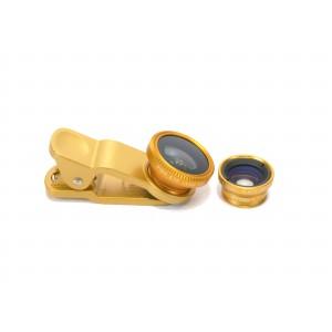Набор внешних линз из 3 шт (Макросъемка, fish eye, широкоугольная съемка) на клипсе Желтый