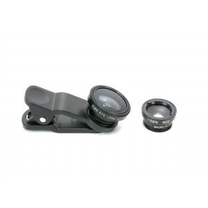 Набор внешних линз из 3 шт (Макросъемка, fish eye, широкоугольная съемка) на клипсе Черный