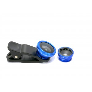 Набор внешних линз из 3 шт (Макросъемка, fish eye, широкоугольная съемка) на клипсе Синий
