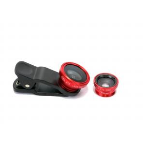 Набор внешних линз из 3 шт (Макросъемка, fish eye, широкоугольная съемка) на клипсе Красный