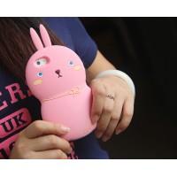 Силиконовый дизайнерский фигурный чехол кролик для Iphone 6 Plus Бежевый