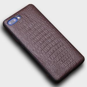 Кожаный чехол накладка (премиум нат. кожа крокодил) для Huawei Honor 10 Коричневый