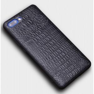 Кожаный чехол накладка (премиум нат. кожа крокодил) для Huawei Honor 10 Черный