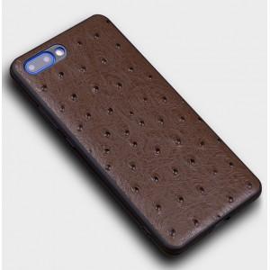 Кожаный чехол накладка (премиум нат. кожа страуса) для Huawei Honor 10 Коричневый