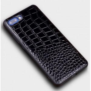 Кожаный чехол накладка (премиум нат. кожа крокодила) для Huawei Honor 10 Черный