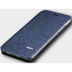 Чехол горизонтальная книжка подставка текстура Соты на силиконовой основе для Huawei Honor 10 Синий