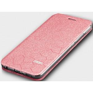 Чехол горизонтальная книжка подставка текстура Соты на силиконовой основе для Huawei Honor 10 Розовый