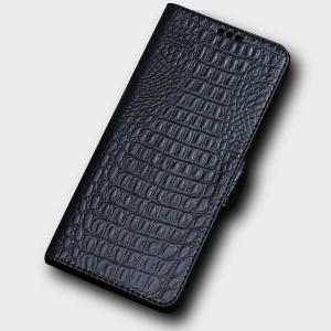 Кожаный чехол горизонтальная книжка подставка (премиум нат. кожа крокодила) с крепежной застежкой для Huawei Honor 10 Черный