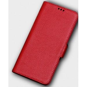 Кожаный чехол горизонтальная книжка подставка (премиум нат. кожа) с крепежной застежкой для Huawei Honor 10 Красный