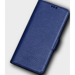 Кожаный чехол горизонтальная книжка подставка (премиум нат. кожа) с крепежной застежкой для Huawei Honor 10 Синий