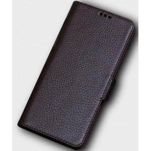 Кожаный чехол горизонтальная книжка подставка (премиум нат. кожа) с крепежной застежкой для Huawei Honor 10 Коричневый