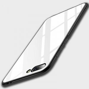 Силиконовый глянцевый непрозрачный чехол со стеклянным покрытием для Huawei Honor 10 Белый