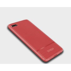 Силиконовый матовый непрозрачный чехол с текстурным покрытием Кожа для Huawei Honor 10 Красный