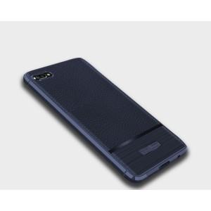 Силиконовый матовый непрозрачный чехол с текстурным покрытием Кожа для Huawei Honor 10 Синий