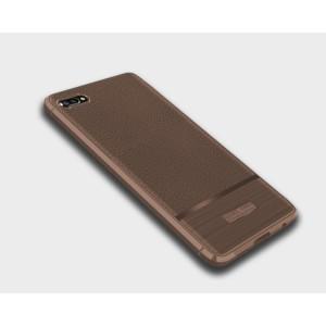 Силиконовый матовый непрозрачный чехол с текстурным покрытием Кожа для Huawei Honor 10 Коричневый