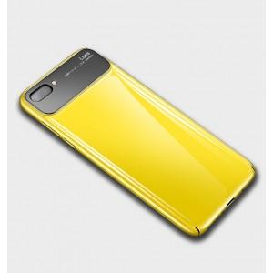 Пластиковый глянцевый непрозрачный чехол для Huawei Honor 10 Желтый